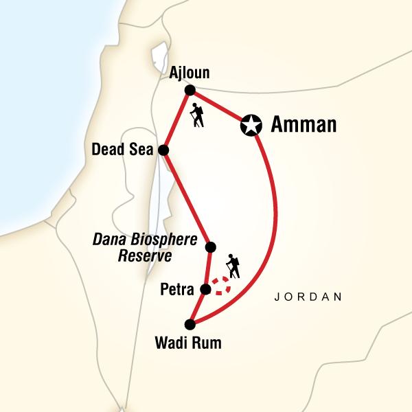 Abenteuerreise Route Jordan Active Adventure