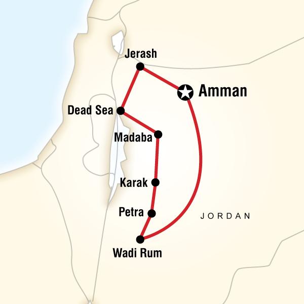 Abenteuerreise Route Jordan Highlights