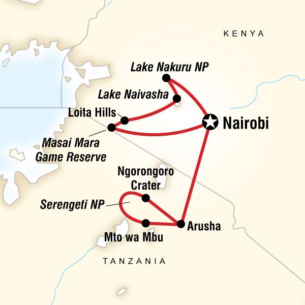 Abenteuerreise Route Kenya & Tanzania Overland Express (Nairobi Loop)