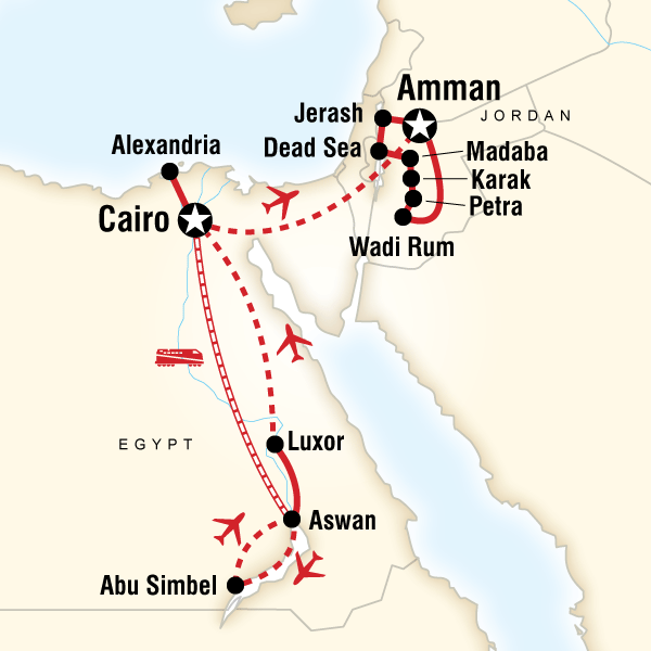Abenteuerreise Route Egypt and Jordan Explorer
