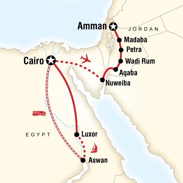 Abenteuerreise Route Egypt & Jordan Adventure