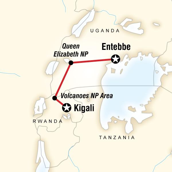Abenteuerreise Route Rwanda and Uganda Gorilla & Chimp Adventure