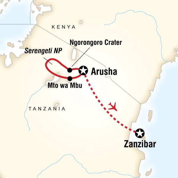 Abenteuerreise Route Tanzania & Zanzibar Adventure
