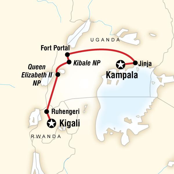 Abenteuerreise Route Culture & Wildlife of Uganda & Rwanda