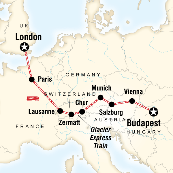 Abenteuerreise Route Europe by Rail with the Glacier Express