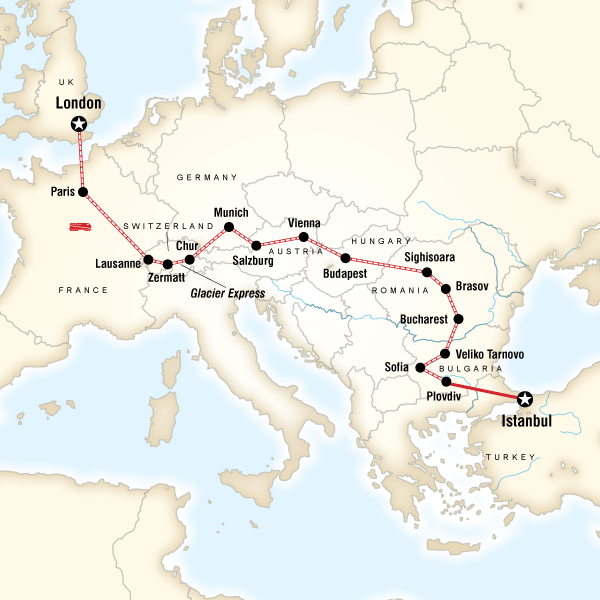 Abenteuerreise Route London to Istanbul by Rail