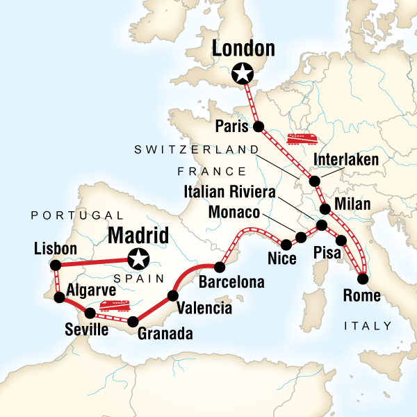 Abenteuerreise Route London to the Mediterranean on a Shoestring