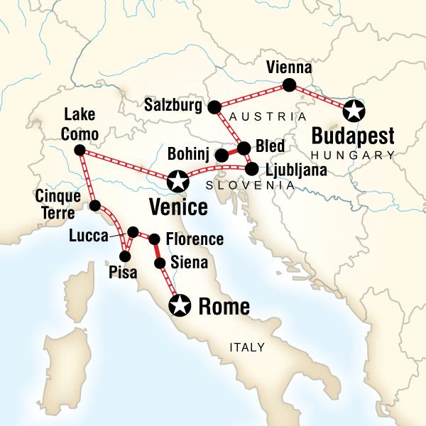 Abenteuerreise Route Rome to Budapest Explorer