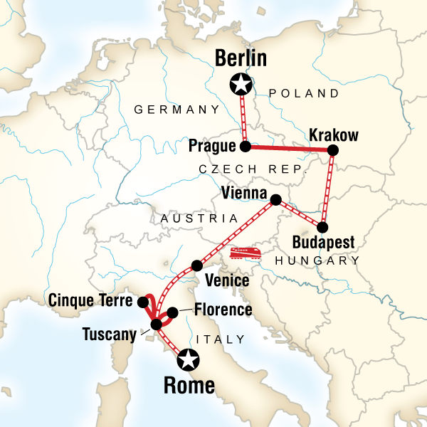 Abenteuerreise Route Rome to Berlin on a Shoestring