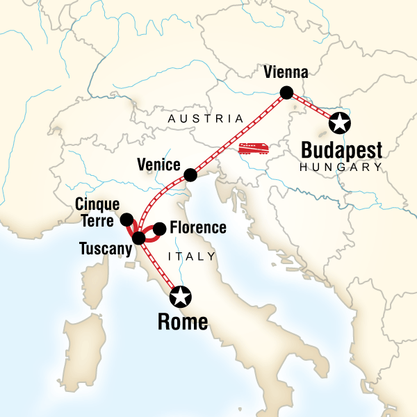 Abenteuerreise Route Rome to Budapest on a Shoestring