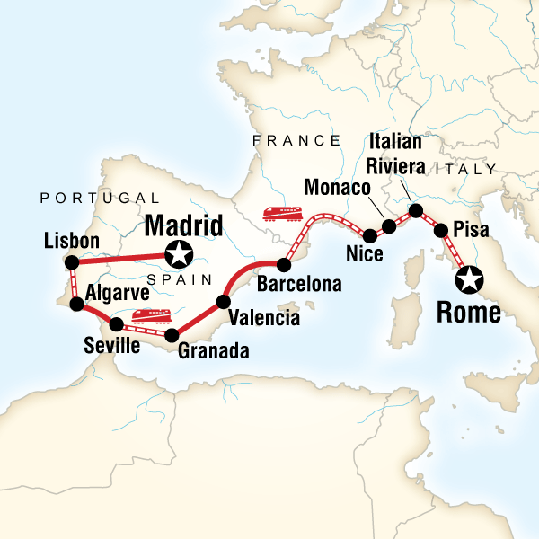 Abenteuerreise Route Rome to Madrid on a Shoestring