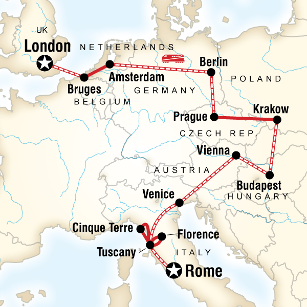 Abenteuerreise Route Rome to London on a Shoestring