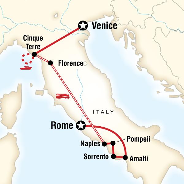 Abenteuerreise Route Treasures of Italy