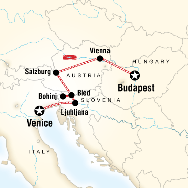 Abenteuerreise Route Venice to Budapest Express