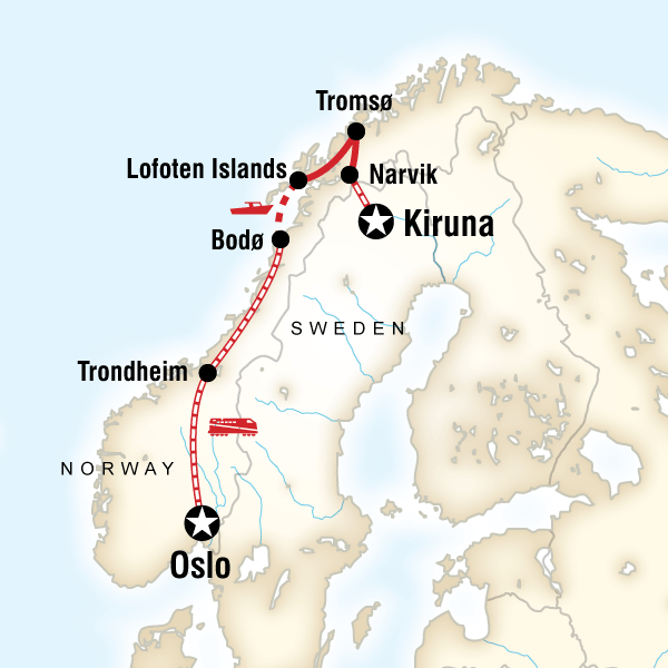 Abenteuerreise Route Northern Lights & Arctic Circle by Rail