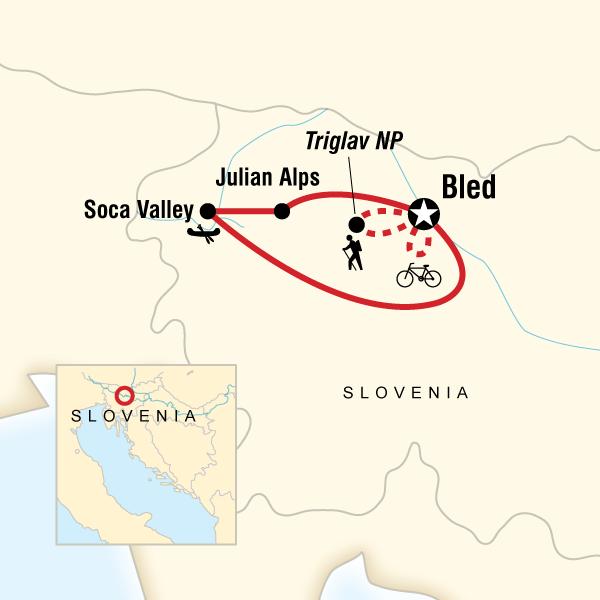 Abenteuerreise Route Slovenia Hike, Bike & Raft