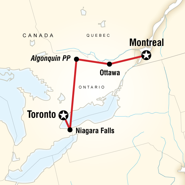 Abenteuerreise Route Quebec and Ontario Explorer