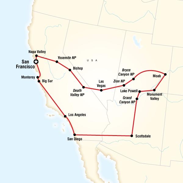 Abenteuerreise Route Camping America's West