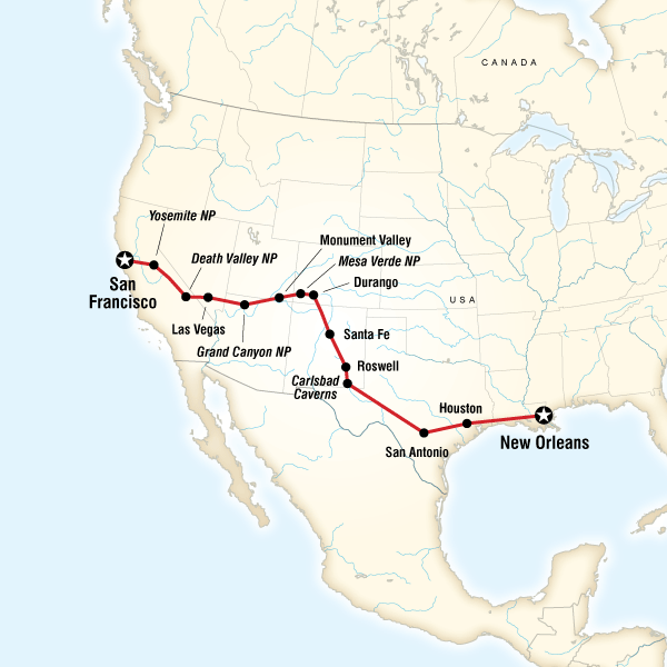 Abenteuerreise Route San Francisco to New Orleans Road Trip