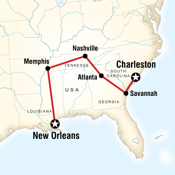 Abenteuerreise Route Highlights of the Deep South