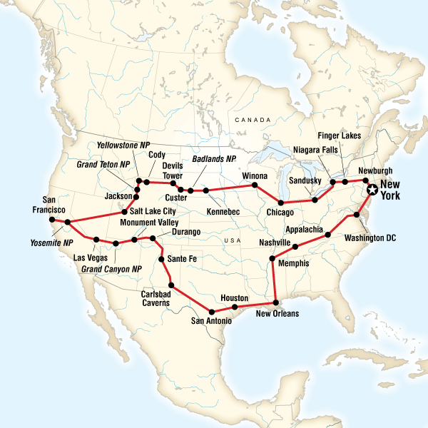 Abenteuerreise Route Best of the USA Tour–New York to New York