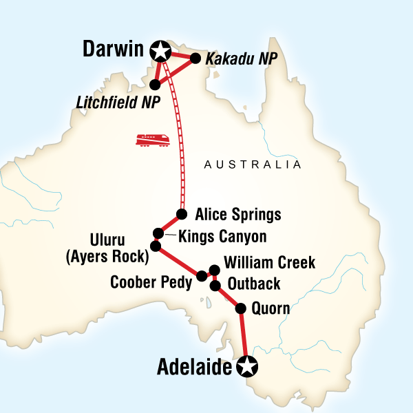 Abenteuerreise Route Outback to the Top End–Adelaide to Darwin