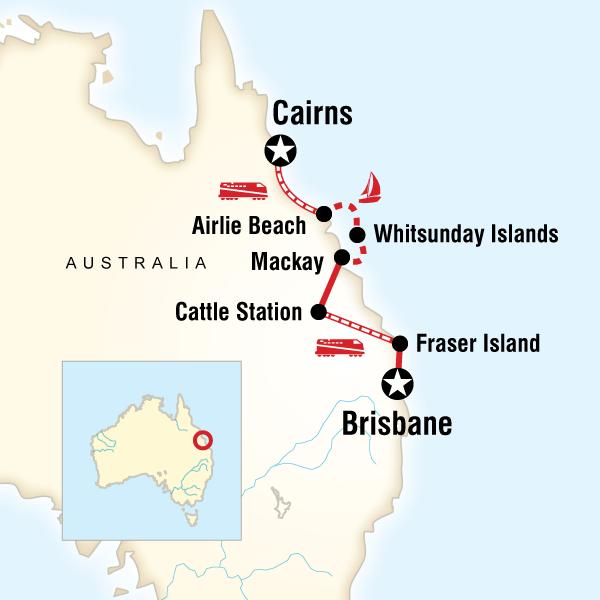 Abenteuerreise Route Brisbane to Cairns Experience