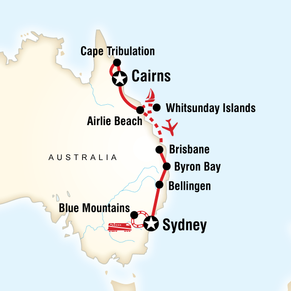 Abenteuerreise Route Best of Australia
