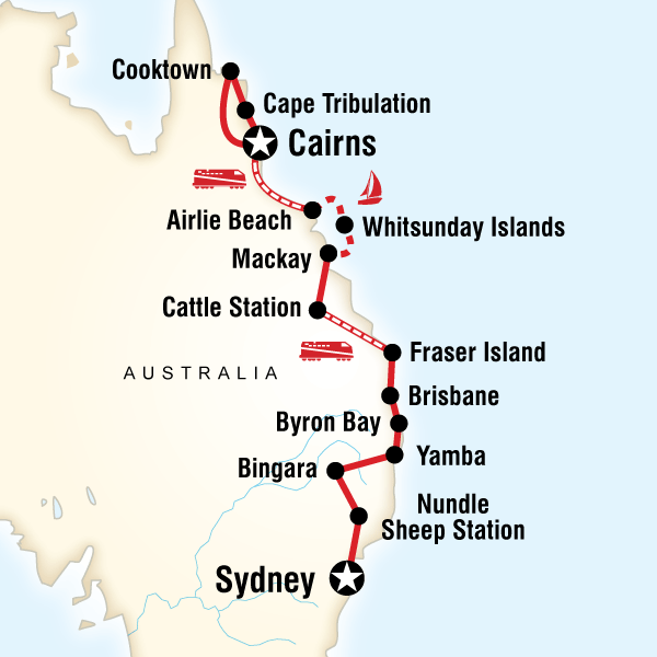 Abenteuerreise Route East Coast Encompassed–Sydney to Cairns