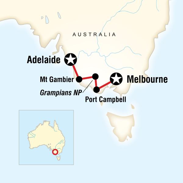 Abenteuerreise Route Great Ocean Road West–Melbourne to Adelaide
