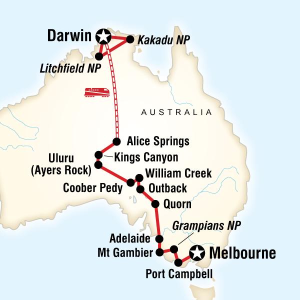 Abenteuerreise Route Australia South to North–Melbourne to Darwin