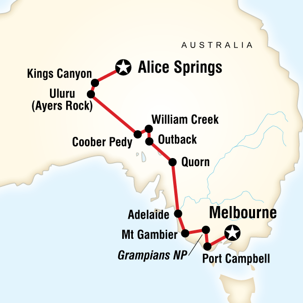 Abenteuerreise Route Melbourne to the Red Centre