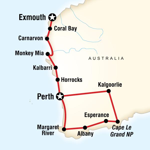 Abenteuerreise Route Western Australia Adventure