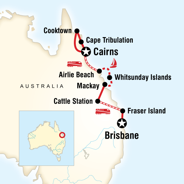 Abenteuerreise Route Queensland Sand, Sailing & Dreamtime