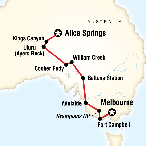 Abenteuerreise Route The Red Centre to Melbourne