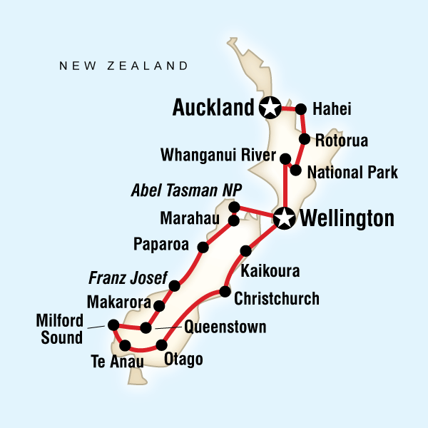 Abenteuerreise Route Active New Zealand