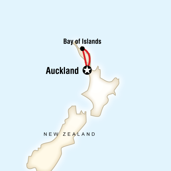 Abenteuerreise Route New Zealand–The Bay of Islands