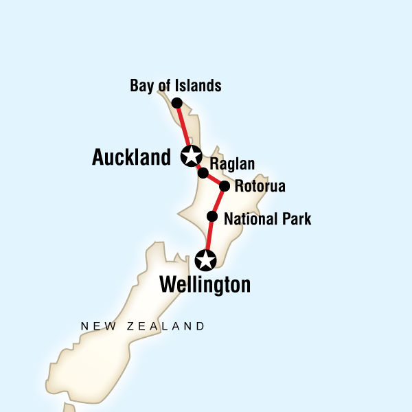 Abenteuerreise Route New Zealand–North Island Encompassed