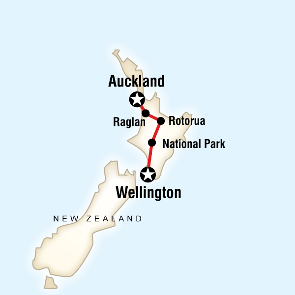 Abenteuerreise Route New Zealand–Best of the North Island