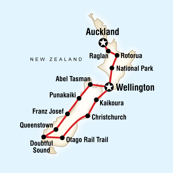Abenteuerreise Route Best of New Zealand