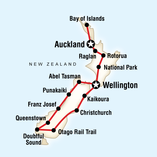 Abenteuerreise Route New Zealand Encompassed