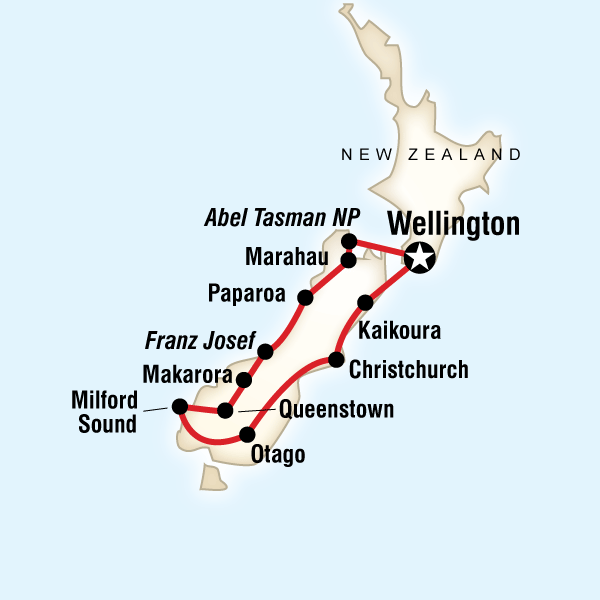 Abenteuerreise Route New Zealand - Active South Island