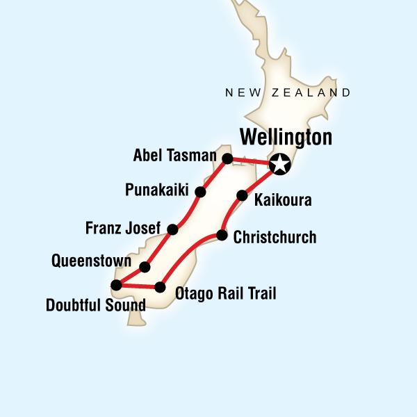 Abenteuerreise Route New Zealand–South Island Encompassed