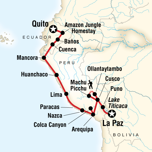 Abenteuerreise Route Quito to La Paz Adventure