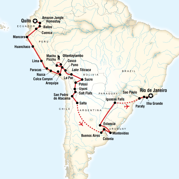 Abenteuerreise Route The Great South American Journey–Quito to Rio Adventure