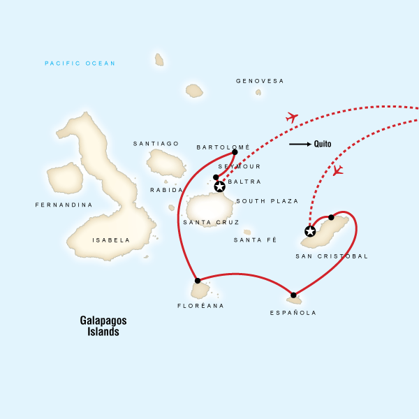 Abenteuerreise Route Galápagos — South & Central Islands aboard the Estrella
