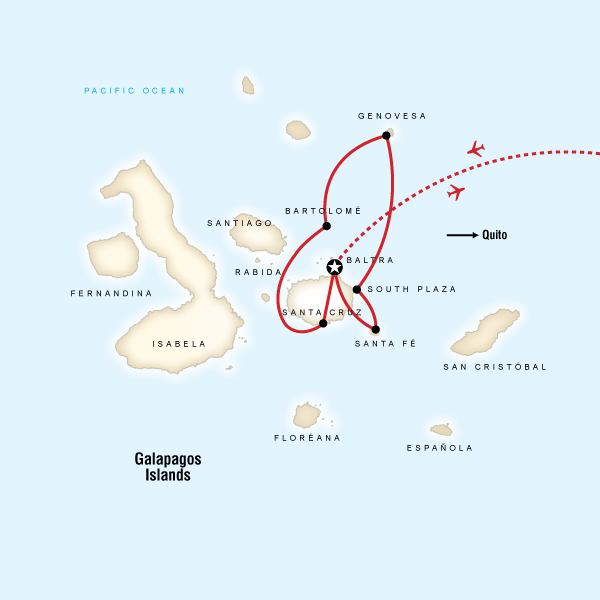 Abenteuerreise Route Galápagos Land & Sea — North & Central aboard Estrella