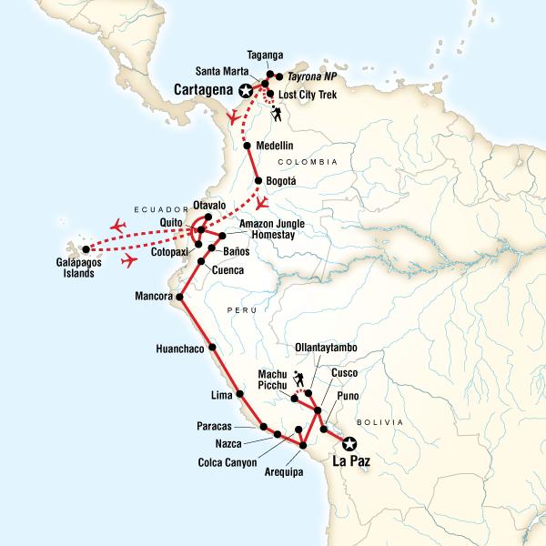 Abenteuerreise Route Colombia, Andes & Galápagos