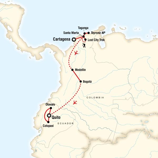 Abenteuerreise Route Cartagena to Quito on a Shoestring