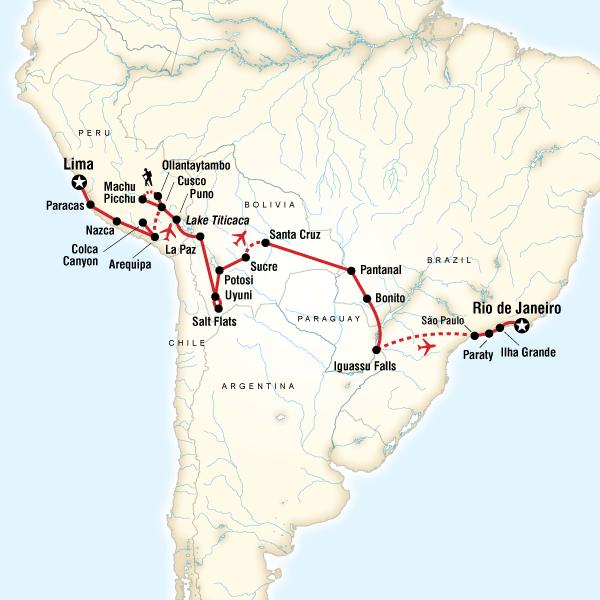 Abenteuerreise Route Southern Cross